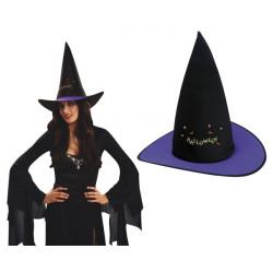 Klobouk Čarodějnice černý s barevným lemem