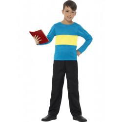 Dětské tričko modré se žlutým pruhem