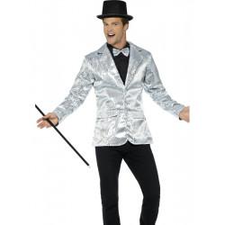 Flitrové sako stříbrné