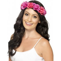 Havajský věneček na hlavu růžový