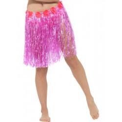 Havajská sukně růžová 40 cm s květinami
