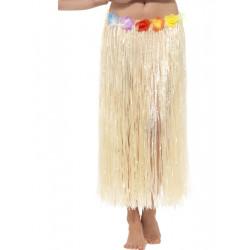 Havajská sukně tráva 90 cm s květinami