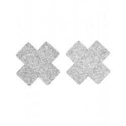Lepítka na bradavky stříbrný malý kříž glitr