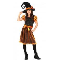 Dětský kostým Čarodějnice oranžová
