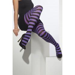Punčocháče pruhované fialová a černá