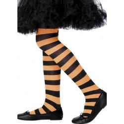 Dětské punčocháče pruhované oranžová a čern