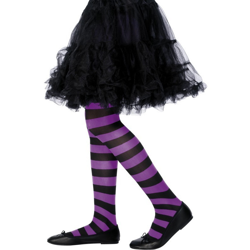 Dětské punčocháče pruhované fialová a černá