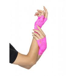 Krajkové rukavice růžové bez prstů