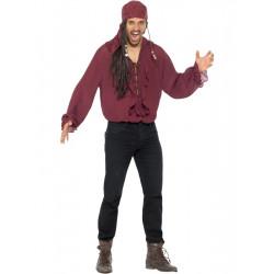 Pirátská košile pánská, vínová