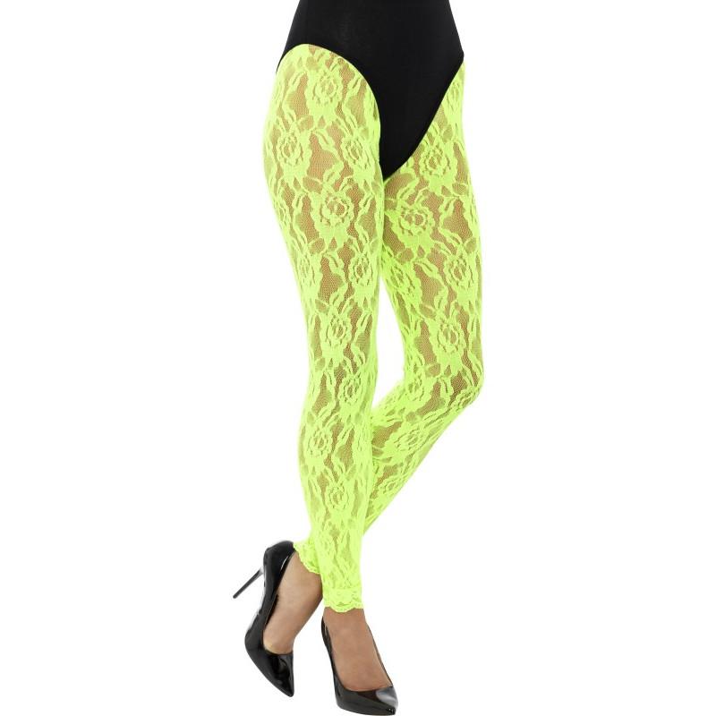 Legíny krajkové, zelené neonové