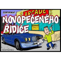 Certifikát novopečeného řidiče (modré auto)