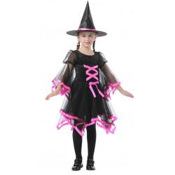 Dětský kostým Čarodějnice růžové lemování