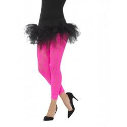 Legíny krajkové, růžové neonové
