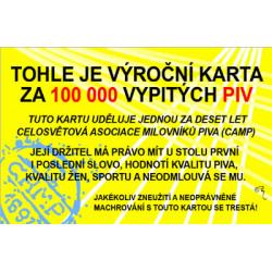 Průkaz Tohle je výroční karta za 100 000 ...